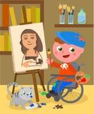 De gehandicapte vector van de schildersstudio Stock Foto