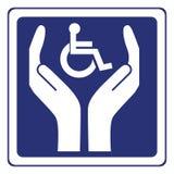 De gehandicapten geven tekenvector Stock Foto's