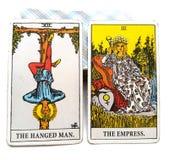 De de Gehangen Mens/Keizerin van de tarotgeboorte Kaart royalty-vrije illustratie