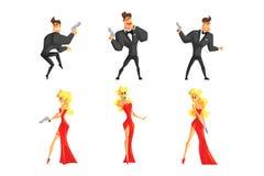 De geheimagenten in verschillend stelt Knappe man en mooie vrouw met kanon in handen Mannetje in zwart kostuum, wijfje in sexy royalty-vrije illustratie