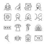 De geheime en vertrouwelijke vectorreeks van het lijnpictogram Omvatte de pictogrammen aangezien het geheim, slot, gefluister, en royalty-vrije illustratie
