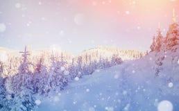 De geheimzinnige majestueuze bergen van het de winterlandschap Stock Afbeeldingen