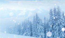 De geheimzinnige majestueuze bergen van het de winterlandschap in Royalty-vrije Stock Foto