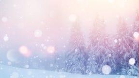 De geheimzinnige majestueuze bergen van het de winterlandschap binnen Royalty-vrije Stock Foto