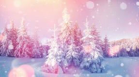 De geheimzinnige majestueuze bergen van het de winterlandschap binnen Royalty-vrije Stock Afbeeldingen
