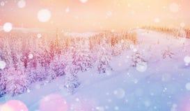 De geheimzinnige majestueuze bergen van het de winterlandschap binnen Royalty-vrije Stock Fotografie