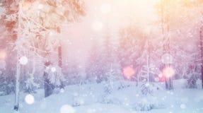 De geheimzinnige majestueuze bergen van het de winterlandschap binnen Royalty-vrije Stock Afbeelding