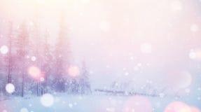 De geheimzinnige majestueuze bergen van het de winterlandschap binnen Stock Foto's