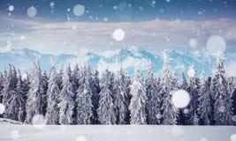 De geheimzinnige majestueuze bergen van het de winterlandschap binnen Magica Royalty-vrije Stock Afbeeldingen