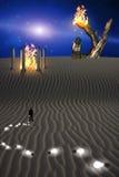 De geheimzinnige Scène van de Woestijn Stock Afbeelding