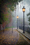 De geheimzinnige steeg in mistige de herfsttijd Stock Foto