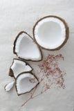 De gehele ruwe kokosnoot barstte open en vieed hierboven van Royalty-vrije Stock Afbeelding