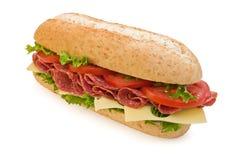 De gehele sandwich van de tarwesalami met kaas Stock Foto's