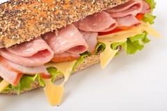 De gehele sandwich van tarwebaguette Stock Foto
