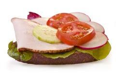 De gehele sandwich van tarweTurkije die op wit wordt geïsoleerda Stock Foto's