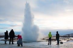 De Geiseruitbarsting van IJsland Stock Afbeeldingen