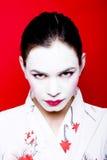 De geisha maakt omhoog op vrouw stock afbeelding