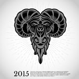 De geit hoofdgravure van het jaar nieuwe Chinese symbool Royalty-vrije Stock Afbeelding