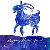 De geit van het waterverfpatroon Chinees astrologisch teken Stock Afbeelding