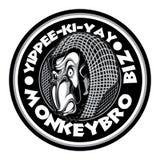 De gekke Boze Slechte van de Aapgorila van de Chimpanseeaap Inkt Zwart Wit Cirkellogo black & Witte Aap Biz stock illustratie