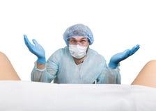 De gekke gynaecoloog onderzoekt een patiënt de gekke verschillende emoties van de artsenuitdrukking en maakt verschillende hand&  Royalty-vrije Stock Afbeelding