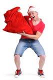 De gekke Kerstman met een zak van giften Royalty-vrije Stock Fotografie