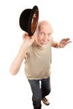 De gekke Mens van de Dans met de Hoed van de Bowlingspeler stock fotografie