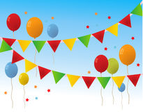 De gekleurde Gelukkige Banner van Verjaardagsballons Stock Afbeelding