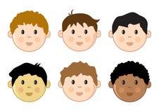 De gekleurde geplaatste gezichten van kinderen Vector illustratie royalty-vrije illustratie