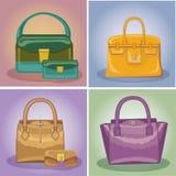 De gekleurde geplaatste handtassen van maniervrouwen Stock Afbeelding