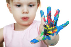 De gekleurde hand van het kind Stock Fotografie