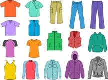 De gekleurde inzameling van de mens kleren Stock Foto