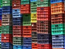 De gekleurde inzamelingen van fruitdozen Royalty-vrije Stock Foto's
