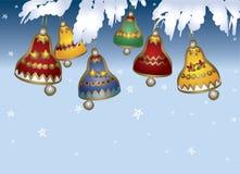De gekleurde klokken van Kerstmis Stock Afbeeldingen