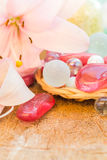 De gekleurde lelie van het kuuroordconcept zen stenen Stock Fotografie