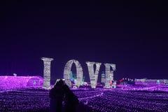 De gekleurde lichten omhelzen onder liefde stock afbeelding