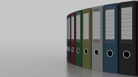 De gekleurde omwenteling van bureaubindmiddelen, ondiepe nadruk 4K naadloze loopable klem vector illustratie