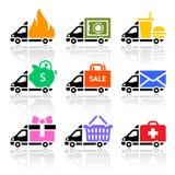 De gekleurde pictogrammen van de levering vrachtwagen Stock Foto's