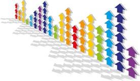 De gekleurde pijlen Stock Foto