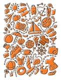 De gekleurde reeks van het krabbelbeeldverhaal reis de punten, de voorwerpen en symbolen van het planningsthema vector illustratie