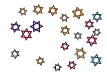 De gekleurde sterren van confettiendavid, ster vector illustratie