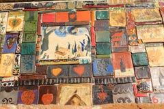De gekleurde tegels op de Klokketoren in de stad van Tbilisi, Georgiatiles Royalty-vrije Stock Foto