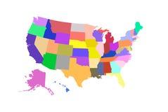 De gekleurde vector van de staat van de V.S. kaart Stock Afbeeldingen