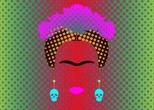 De Gekleurde Vectorillustratie Pop Art Style Andy Warhol van Frida Kahlo achtergrond Royalty-vrije Stock Afbeelding