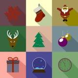 De gekleurde vlakke stijl van Kerstmispictogrammen Stock Afbeelding
