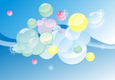 De gekleurde zeep bubles op samenvatting polijst achtergrond Stock Foto