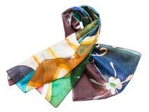 De geknoopte hand geschilderde geïsoleerde sjaal van de batikzijde Royalty-vrije Stock Afbeeldingen