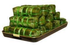 De gekookte Cakes van de Rijst Stock Afbeeldingen