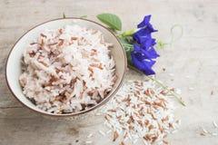 De gekookte rijstvolwitte rijsten maakten gebrekkig de super voordelen van het vitaminevoedsel schoon stock afbeelding