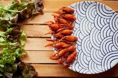 De gekookte rivierkreeften zijn op de schotel met interessant ornament Verse salade Voedzaam en heerlijk diner Royalty-vrije Stock Foto